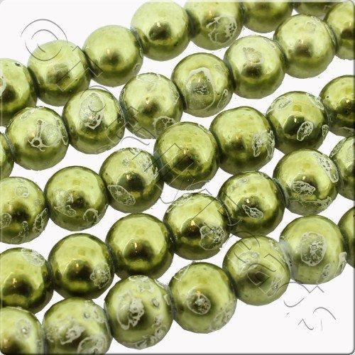Metallic Splatter 8mm Round Beads - Green