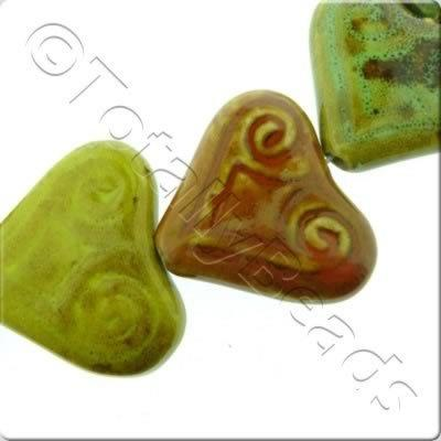 Ceramic Beads - Pattern Heart 40x30mm - Mixed