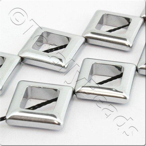 Hematite Square Hole 14mm - Silver Plated