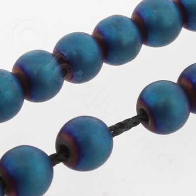Hematite Round 4mm - Matt Blue Plated