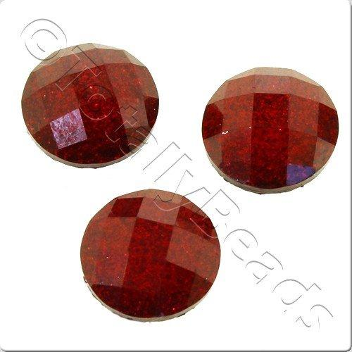 Resin Cabochon 10mm - Facet Sparkle Red 10pcs