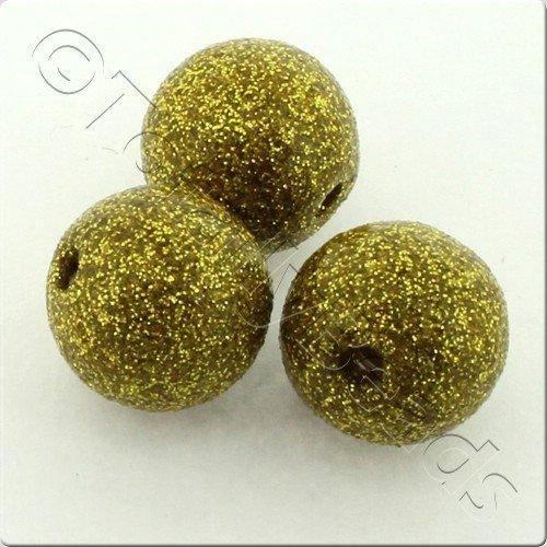 Resin Glitter Round 10mm Bead - Gold