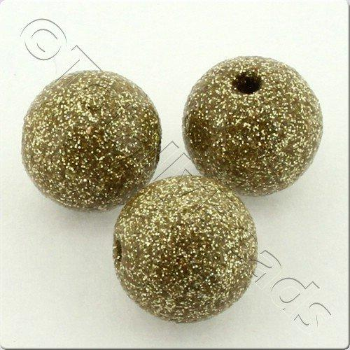 Resin Glitter Round 10mm Bead - Light Olive