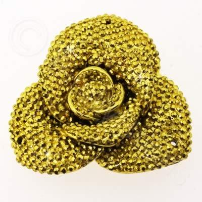 Resin Sparkle 3 Point Flower 40mm - Gold