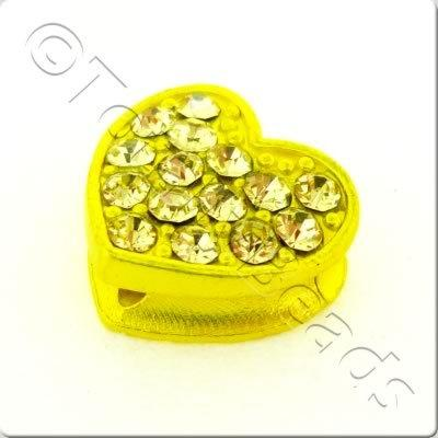 Shamballa Flat Heart - 11x12mm - Yellow