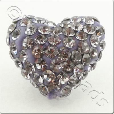 Shamballa Heart Bead - 20mm - Violet