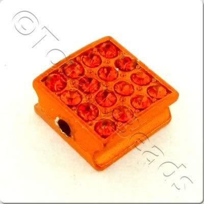 Shamballa Flat Square Bead - 10mm - Orange