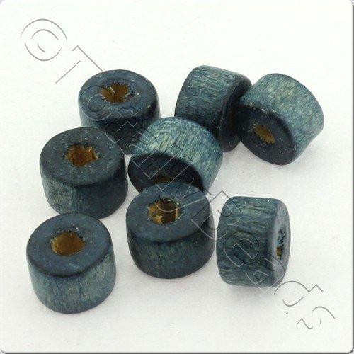 Wooden Bead - Barrel 9mm Blue 200pcs