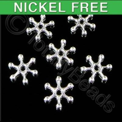 Snowflake Metal Bead 12mm - Silver Plated 30pcs