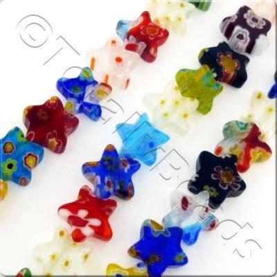 Millefiori - Flat Star 10mm - Mixed