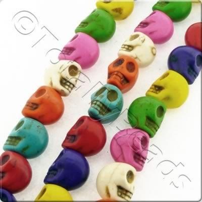 Synthetic Turquoise Skulls 15mm Mixed