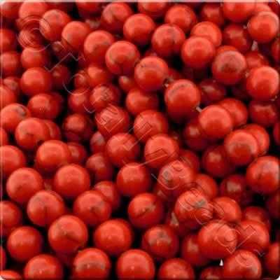 Synthetic Turquoise Round Beads 10mm - Red