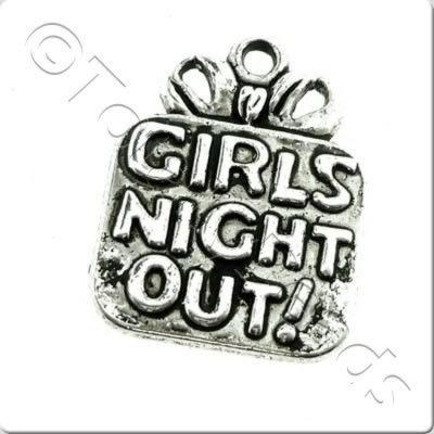 Tibetan Silver Charm - Girls Night Out