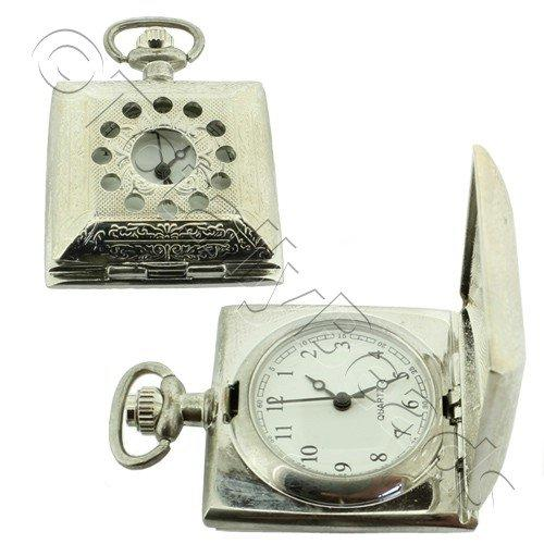 Pocket Watch - Square Hole Lid - White - 30mm