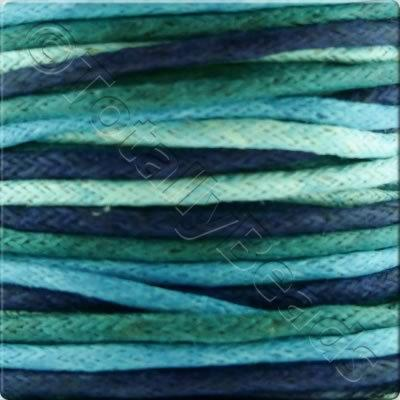 Wax Cotton Cord (1.5mm) Mix - 4x2 metres - Blue