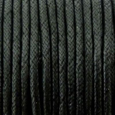 Wax Cotton Cord 3mm - Black - 5 Metres