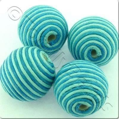 Wax Thread Bead - Round 22mm - Aqua & Turquoise