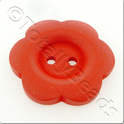 Wooden Flower Button 27mm - Red