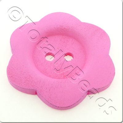 Wooden Flower Button 50mm - Pink