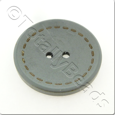 Wooden Button Stitch Effect 30mm - Grey