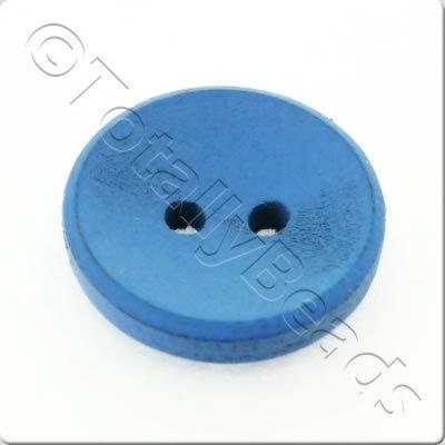 Concave Wooded Button 15mm - Blue
