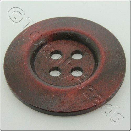 Wooden Button 50mm - Wine Red