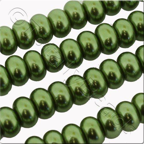 Glass Pearl Rondelle 4x6mm - Olive