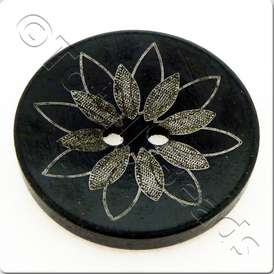 Printed Black Wooden Button - 6pcs