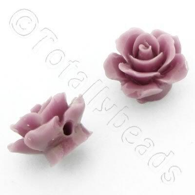 Acrylic Rose 15mm 1 Row - Light Amethyst 4pcs