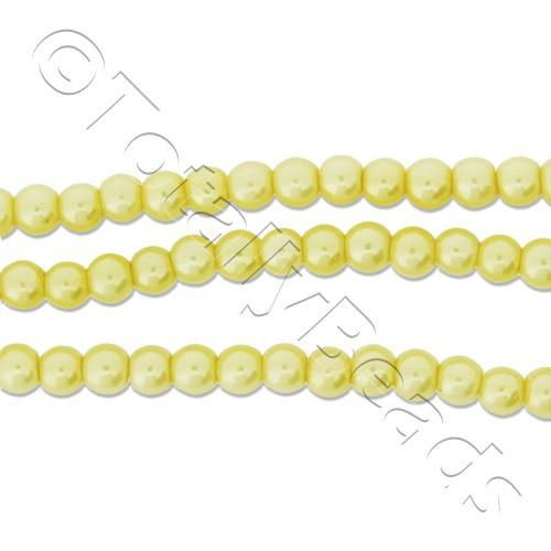 Glass Pearl Round Beads 3mm - Lemon