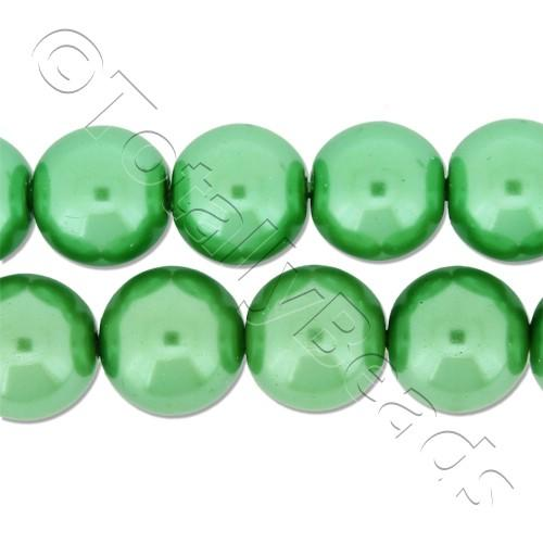 Glass Pearl Round Beads 10mm - Fresh Green