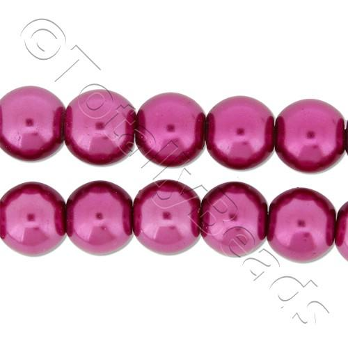 Glass Pearl Round Beads 8mm - Fuchsia