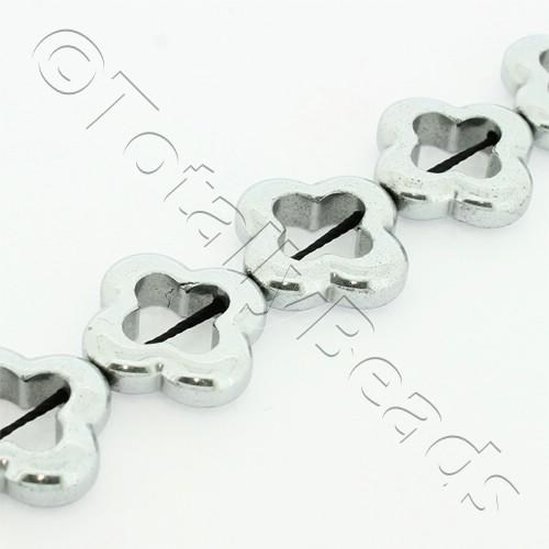 Hematite Clover 16mm - Silver Plated