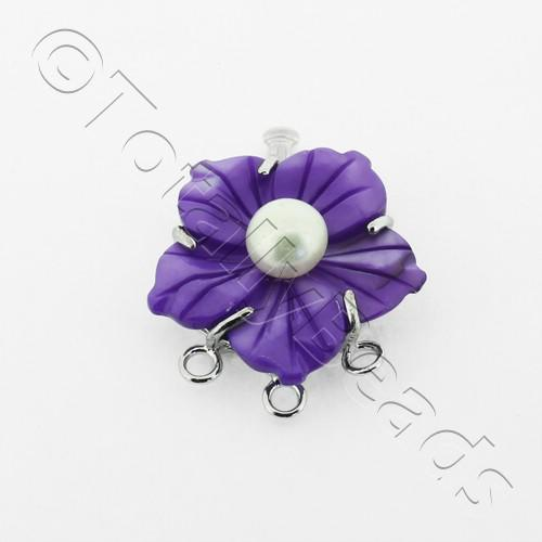 3 Row Connector Box Clasp Flower - Purple