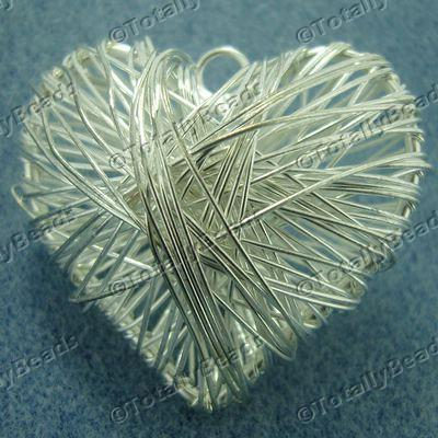 Wire Pendant - Heart 50mm Silver