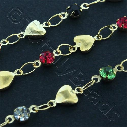 Chain Gold Plated - Heart with Rhinestones