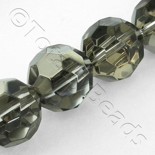 Faceted Round 17mm Beads - Black Diamond