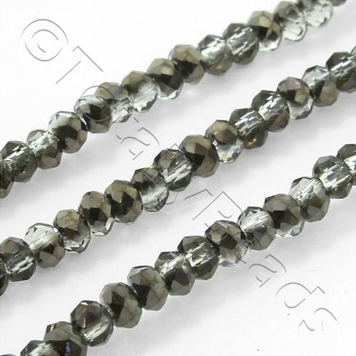 Crystal Rondelle 2.5x3.5mm Black Diamond Shadow 150pcs