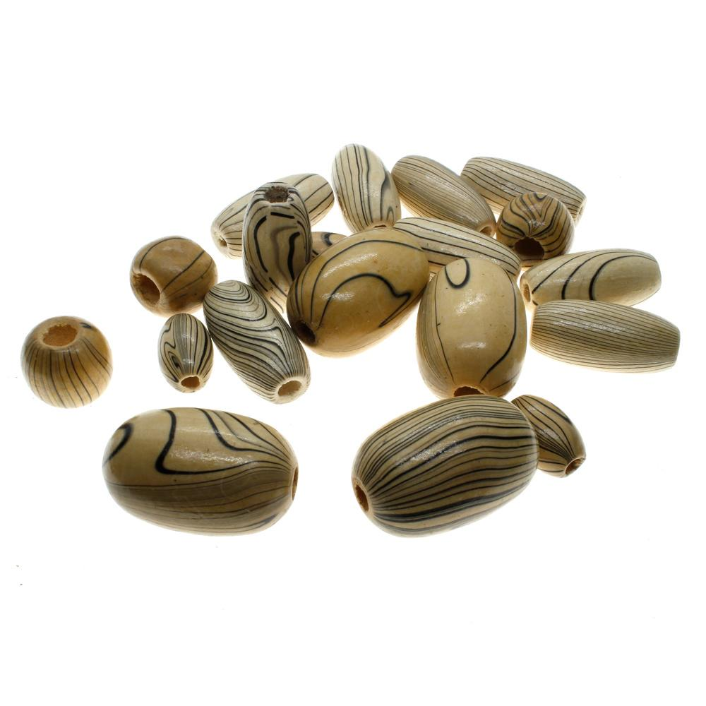Wood Bead Mix - Brown & Black Colour