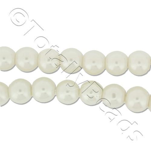 Glass Pearl Round Beads 5mm - White