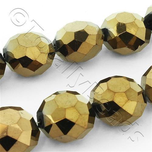 Faceted Crystal button 13mm - Bronze 24 inches