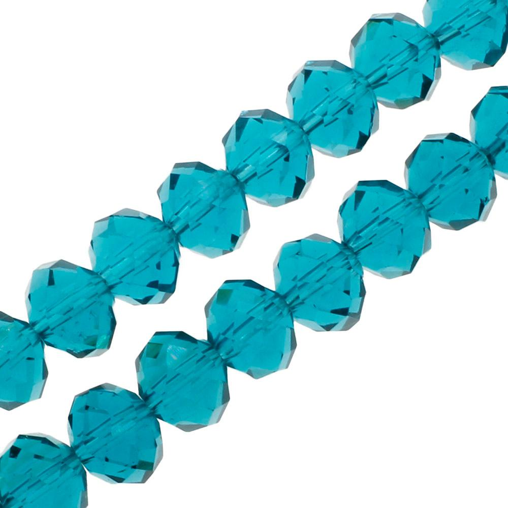 "Crystal Rondelle 6x8mm - Dark Turquoise 16"" String"