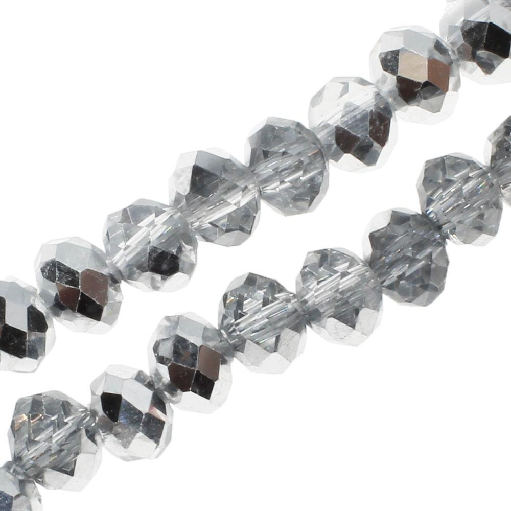 "Crystal Rondelle 4x6mm - Half Silver Plate 16"" String"