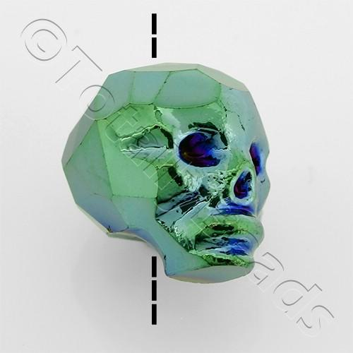 Crystal Skull Bead 13mm 1 Piece - Green Iris