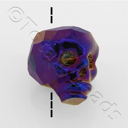 Crystal Skull Bead 13mm 1 Piece - Purple Iris