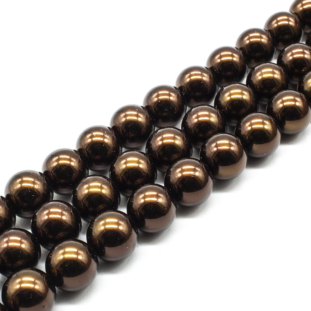 Glass Pearl Round Beads 12mm - Bronze