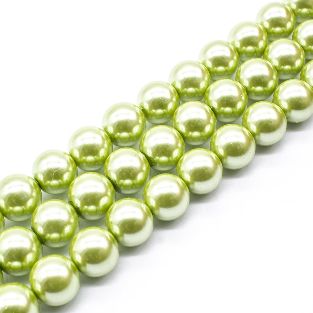 Glass Pearl Round Beads 12mm - Olive