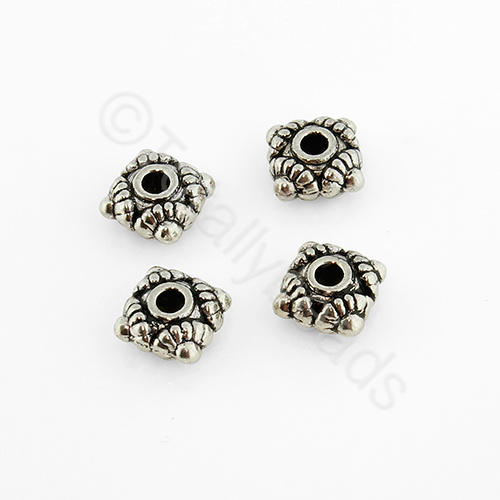 Tibetan Silver Bead - Diamond 6mm