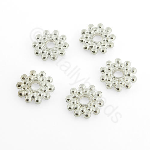 Silver Metal Bead - Spacer Flower 9mm 30pcs - A0524-S