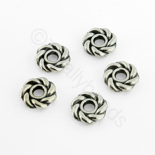 Tibetan Silver Bead - Roped Bead 8mm